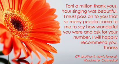 Orange gerbera with testimonial from client
